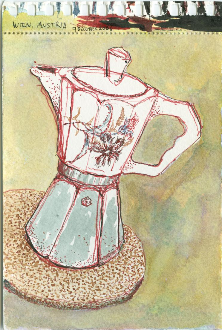 A drawing of an espresso maker in Vienna, Austria