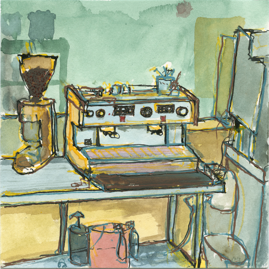 A drawing of a commercial espresso maker in Winston Salem, NC