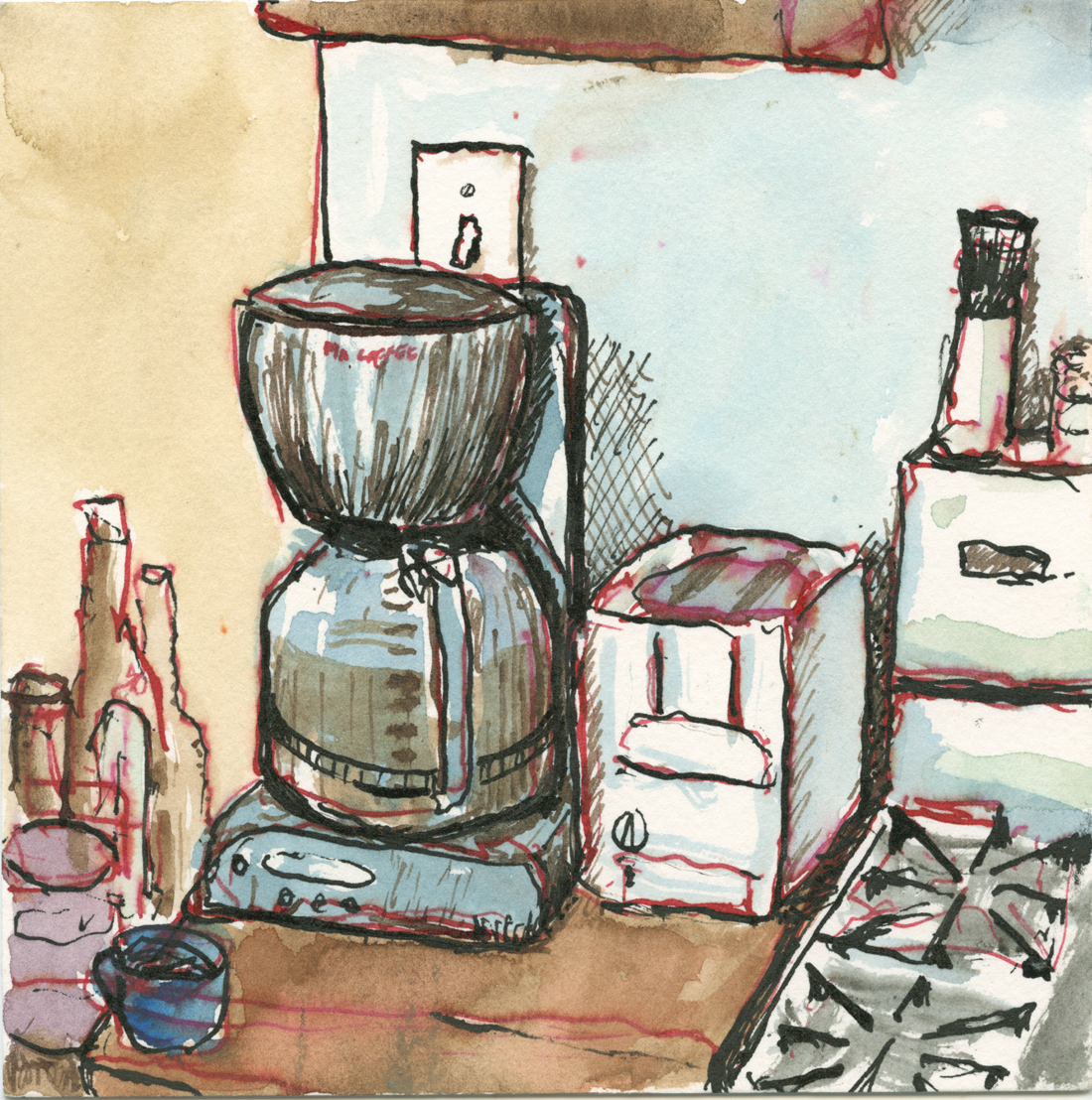 A drawing of a coffee maker in Chicago, IL