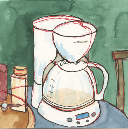 A drawing a coffee maker in Ames, IA